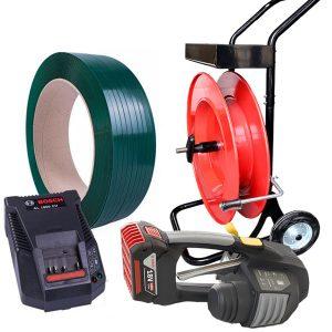 Kit legare cu banda PET MB620 banda PET + carucior banda + baterie + incarcator