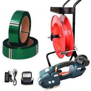 Kit legare banda TES, pe baterii, banda PET + carucior banda + baterie + incarcator